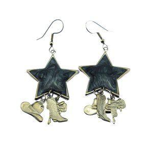 Blue Star Cowboy Dangle Earrings